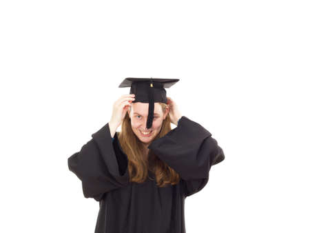 extramural: Female graduate in her academic gown Stock Photo