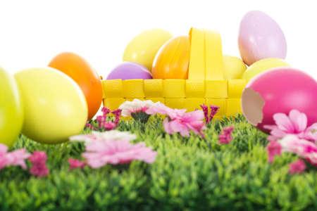 easter egg hunt: Easter eggs in a basket