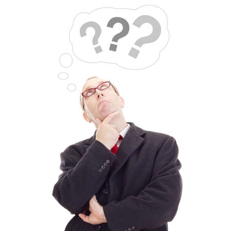 point d interrogation: Homme d'affaires pense � la question