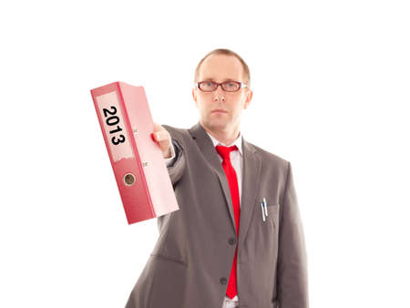 independent financial adviser: Businessman with ring binder Stock Photo