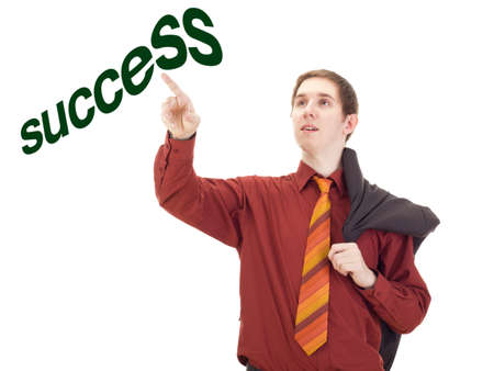 independent financial adviser: Young businessman taping on the word success Stock Photo