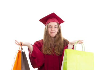 collegian: Female student with shopping bags