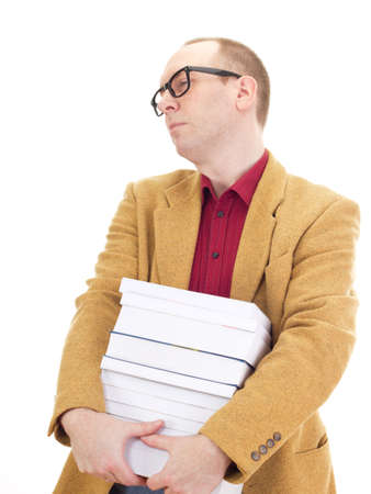 independent financial adviser: Businessman with a lot of books