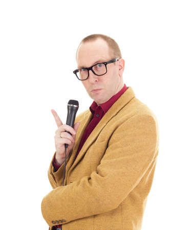 Businessman with a microphone Stock Photo