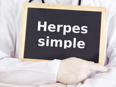 Blackboard : Herpes simplex : Spanish language Stock Photo - 18338880