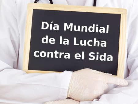 spanish language: Blackboard : World AIDS Day : Spanish language Stock Photo