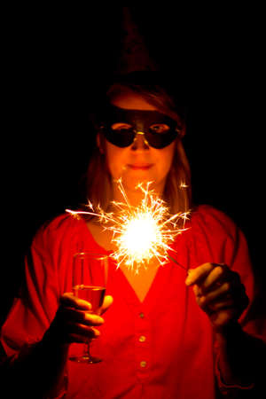 Woman with sparkler Stock Photo - 18527291