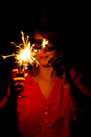 Woman with sparkler Stock Photo - 18527290