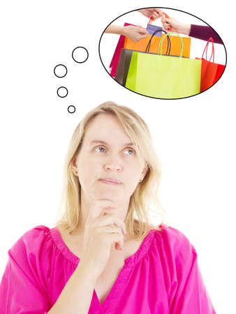 Woman thinking about shopping photo