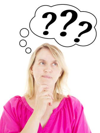 point d interrogation: Femme pensive d'une solution