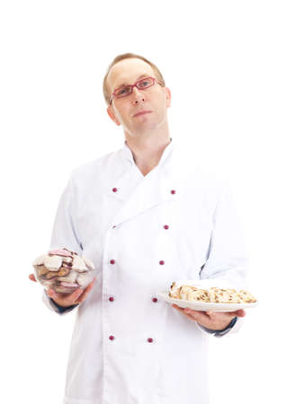 Chef with gingerbread and stollen Stock Photo - 18570515