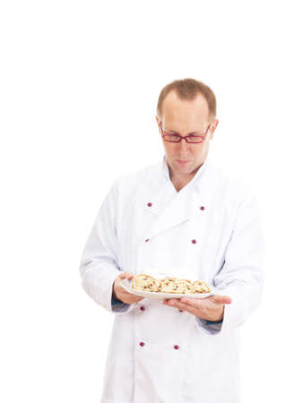 Chef with stollen Stock Photo - 18570594