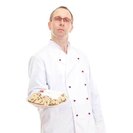 Chef with stollen Stock Photo - 18570500