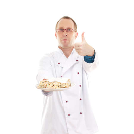 Chef with stollen Stock Photo - 18570491