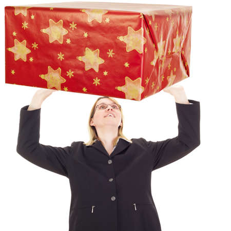 independent financial adviser: Businesswoman catching gift