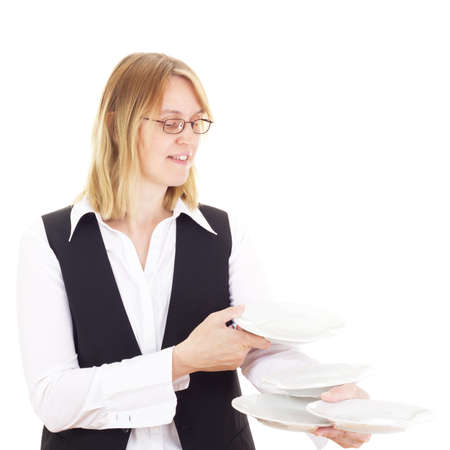 Waitress with plates photo