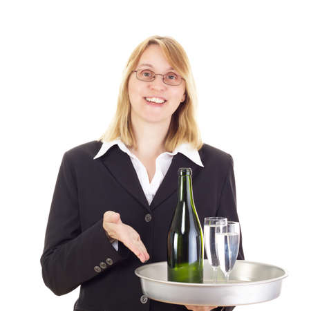 Waitress with dinner tray photo