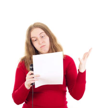 moderation: Beautiful woman giving a presentation
