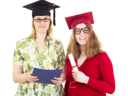 collegian: Two happy female graduates