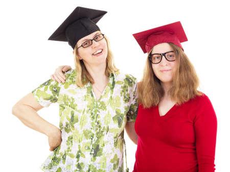 collegian: Two happy female graduates