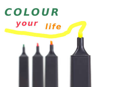 characterization: Colour your life with colourful highlighters! Stock Photo