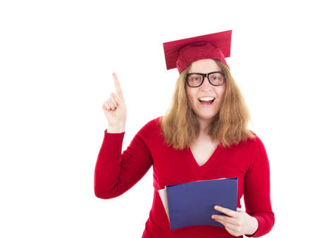 collegian: Female graduate having an idea