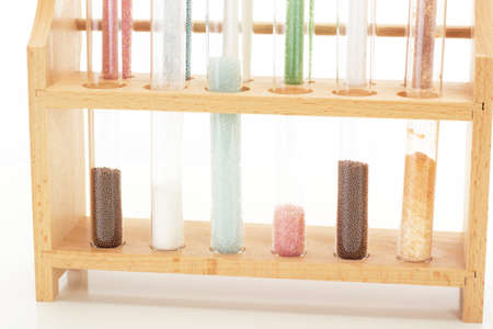 Some filled test tubes in a pharmaceutical laboratory Stock Photo