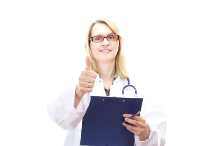 Female doctor with clipboard showing thumb up Stock Photo - 20276149