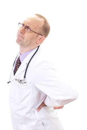 dorsalgia: Doctor looking pained due to bad backache