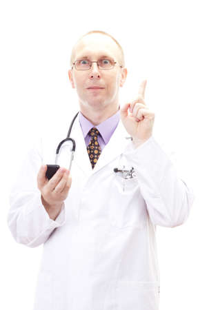 Male doctor having idea who to call Stock Photo - 20360395