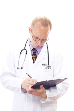 Professional medical doctor checking the waiting list photo