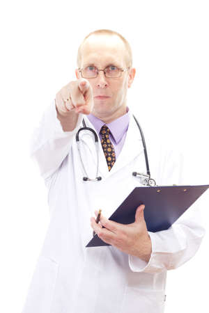 Male medical doctor with clipboard photo