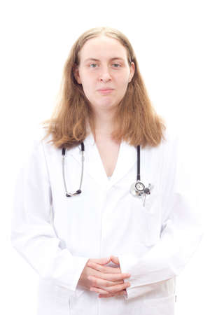 general knowledge: Medical doctor with folded hands waiting for next patient Stock Photo