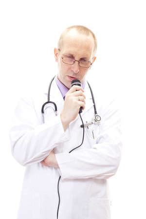commendation: Shy male physician speaking in his microphone