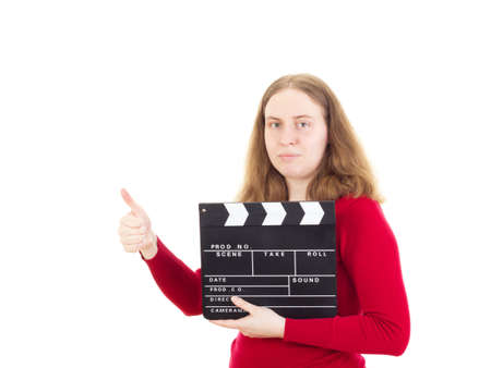 Female person with clapperboard showing thumb up photo