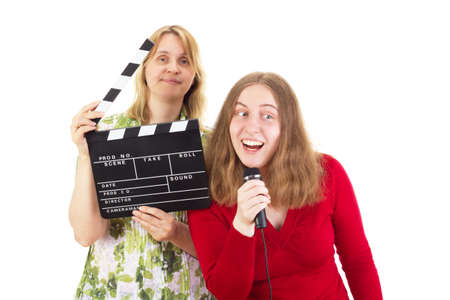 entertainment industry: Two women working in the entertainment industry Stock Photo