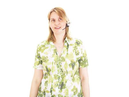 handsfree telephones: Beautiful woman with head set having conversation