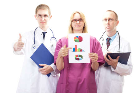 investigative: Team of medical doctors presenting good investigative results Stock Photo