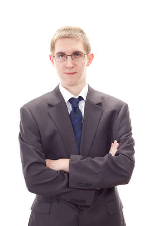 Young businessman cross-armed waiting to advise you Stock Photo - 20615680
