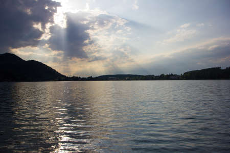 sunup: Beautiful view on the lake with dramatic skyline