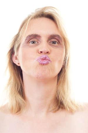 be kissed: Piuttosto giovane donna in attesa di essere baciato