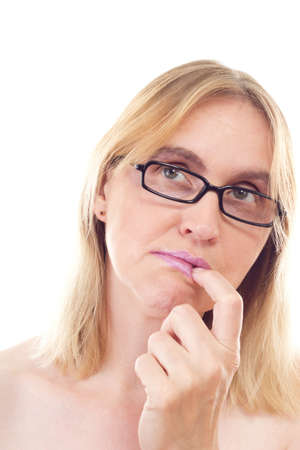 Beautiful mature woman thinking about problem solving