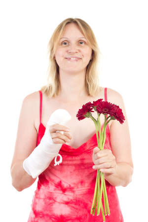 Beautiful woman is happy that her finger gets alright