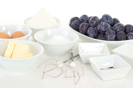 Ingredients for cake with plums