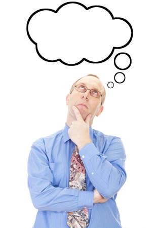 persona pensando: Negocios persona que piensa en algo Foto de archivo
