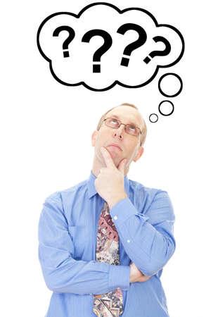 point d interrogation: Homme d'affaires pense ? la question Banque d'images