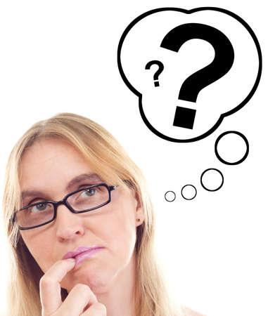 point d interrogation: Belle femme penser question Banque d'images