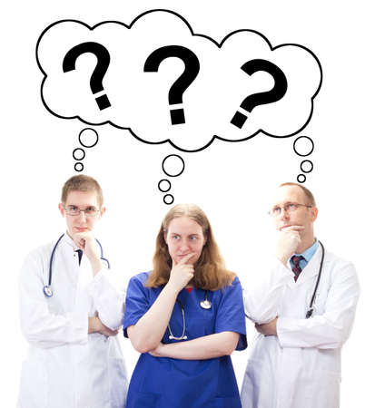 Team of medical doctors thinking for the perfect solution