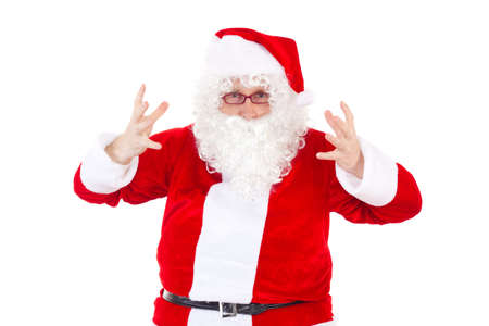 Desperate Santa Claus on white background photo