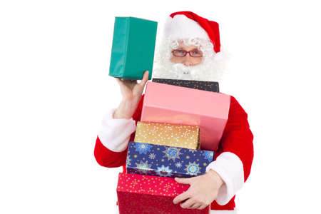 Santa Claus spreading lot of gifts to nice children photo